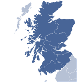 Map of SDM building contractors coverage of Glasgow, Edinbrugh and Scotland